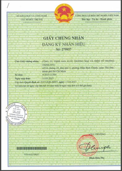 Giấy chứng nhận đăng ký nhãn hiệu trường thịnh electronic